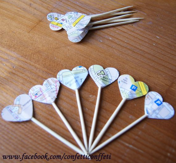 12 x London Map Heart Cupcake Toppers Tea by ConfettiConffeti, $2.40
