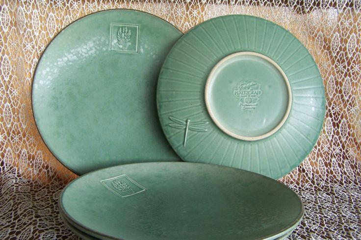 SOLD   Oct2016   $33.95 +sh Set of four dinner plates Pflatzgraff Naturewood Serenity 11 inch plates Thick, heavy green plates Relief style dragonfly on back by STUFFEZES on Etsy