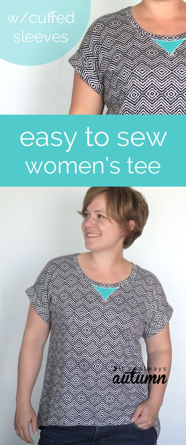 learn how to make a simple women's tee with cuffed sleeves with this easy sewing tutorial and free pattern