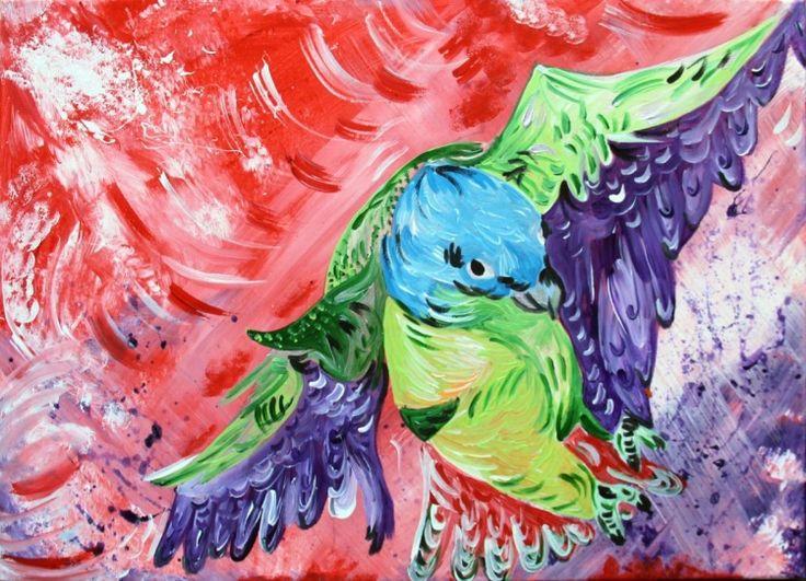 Landing of Parrot. 39 Eur. Original by Silvie Tripes