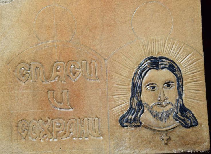 Купить Иконка из кожи. - коричневый, сувенир, изделие из кожи, сувениры ручной работы, Иисус Христос