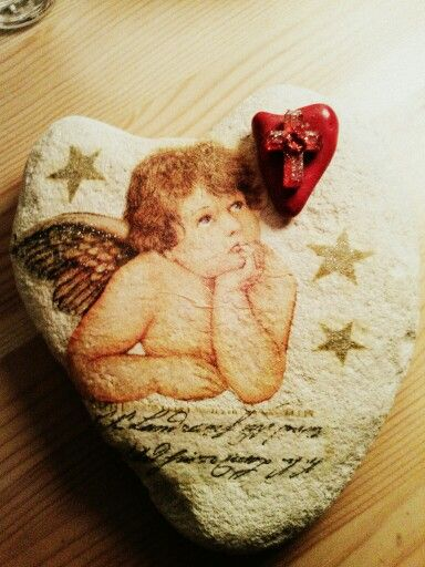 Decoupage heart stone....