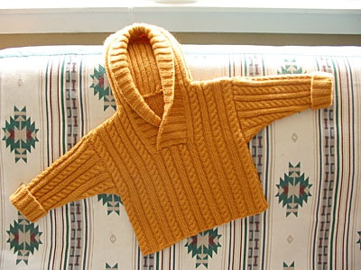 Cable and Rib Sweater with Hood by Debbie Bliss