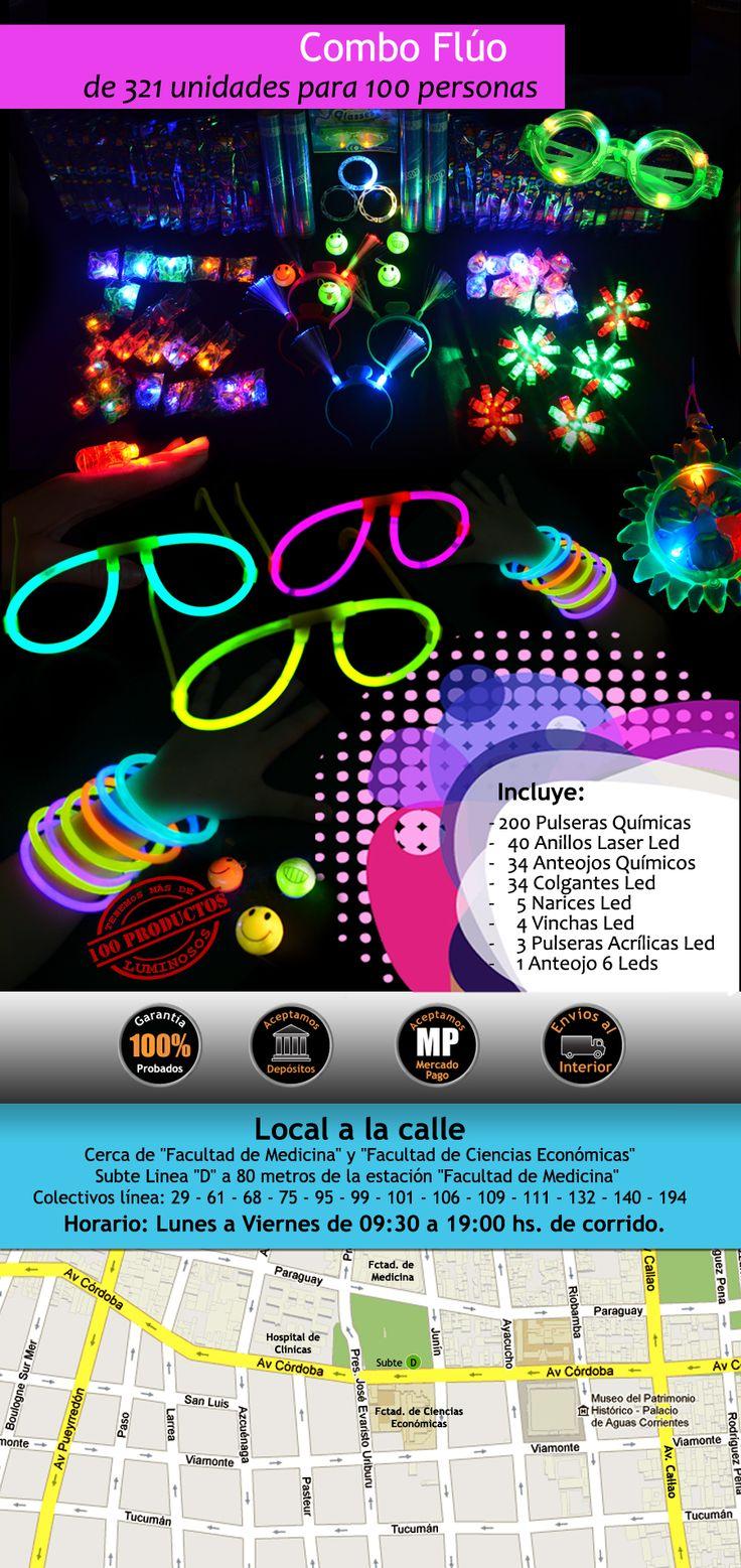 Combo de 371 artículos Fluo & Luminosos para 100 invitados..y a Celebrar tus Fiestas ! a $1200.-