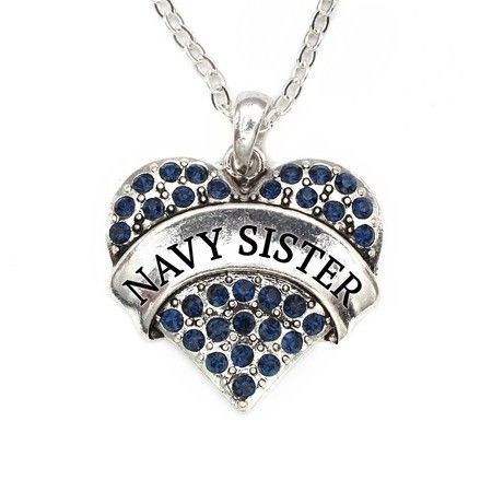 Navy Sister Pave Heart Charm Necklace