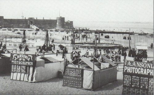 c. 1887 New Brighton beach with photo-tents and waterside swing-sets