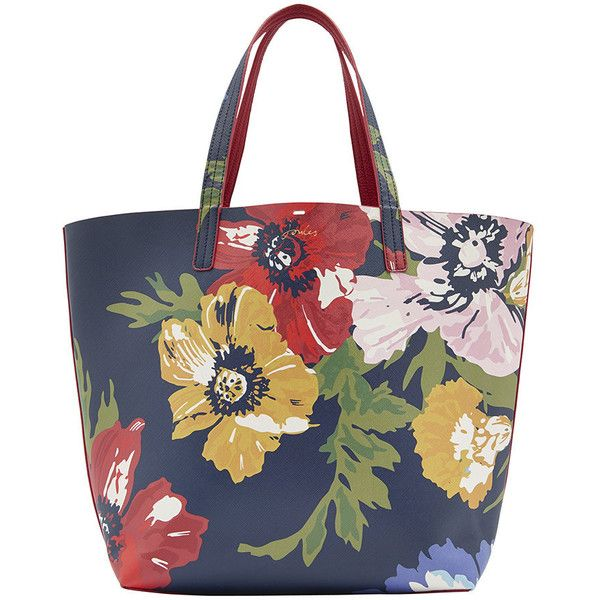 Joules Reversible Revery Bright Shoulder Bag - French Navy Posy ($83) ❤ liked on Polyvore featuring bags, handbags, shoulder bags, red, navy purse, navy handbags, navy blue shoulder bag, navy blue handbags and reversible purse