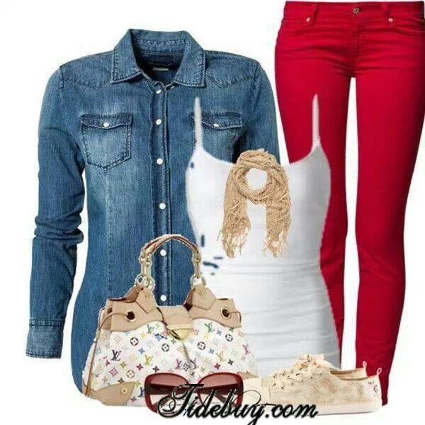 Camisa de jean, pants red