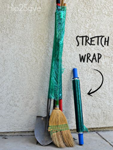 Use stretch wrap to keep large cleaning and gardening tools packed together.