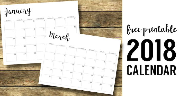 2018 Calendar Printable Free Template. 2018 monthly free printable wall or desk calendar. Hand lettered from January through December help you get organized