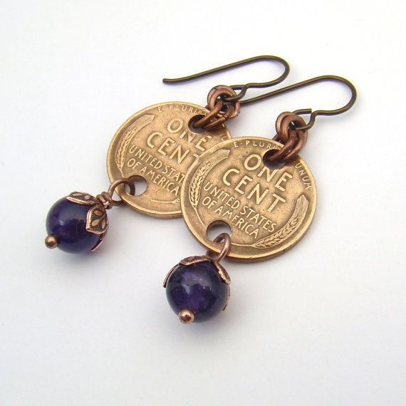 These fun coin earrings are made with US Wheat pennies from 1940 and 1941. Ive used niobium earhooks, antiqued copper jump rings, and Ive wirewrapped amethyst beads to the bottom of each coin with antiqued copper headpins. The earrings measure 1 7/8 long (48 mm) including the hook. ---------------------------- Thank you for browsing my shop! If youd like to see my necklaces and jewelry sets, click here: http://www.etsy.com/shop/laurelmoonjewelry?section_id...