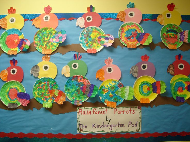 Paper plate parrot- Use construction paper circle for head and one paper plate for body. Children color and cut out eye, beak, and tail patterns. Glue feathers on to body.