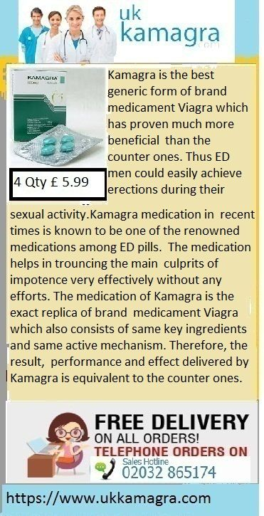 Kamagra is the best generic form of brand medicament Viagra which has proven much more beneficial   than the counter ones. Thus ED men could easily achieve erections during their sexual activity.Kamagra medication in   recent times is known to be one of the renowned medications among ED pills. The medication helps in trouncing the main   culprits of impotence very effectively without any efforts.
