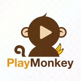 Play Monkey logo (This logo is ideal for a internet, game, entertainment and art company, and any related businesses).