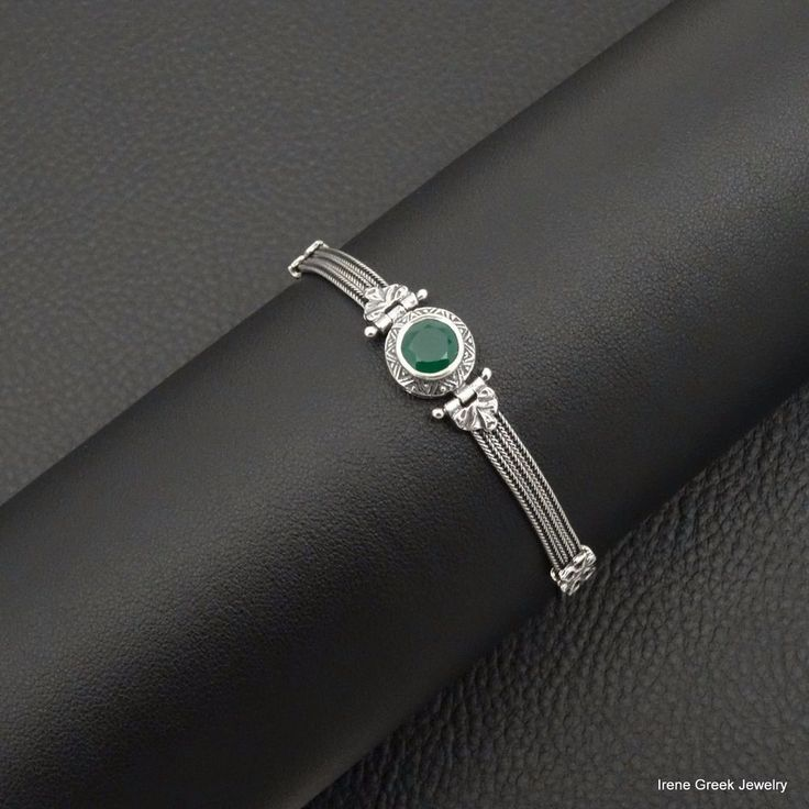 UNIQUE NATURAL GREEN ONYX BYZANTINE STYLE 925 STERLING SILVER GREEK ART BRACELET #IreneGreekJewelry #Tennis