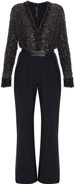 Elie Saab Sequin Top Tux Pant Jumpsuit - Lyst