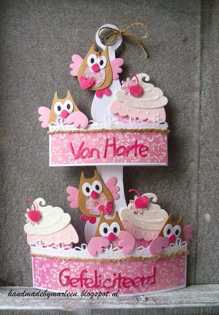 Handmade by Marleen: Etagere met uiltjes en cupcakes