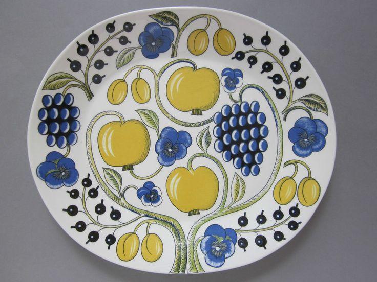 "Large Arabia of Finland PARATIISI Serving Platter / Oval Dish 14"" ~ Scandinavian"
