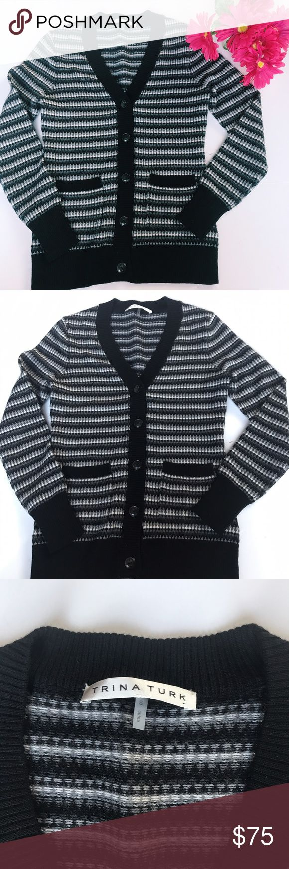 "Trina Turk Striped Sweater Knit Wool Cardigan Timeless Trina Turk cardigan sweater! I'm not really sure how to describe this pattern, kinda of stripes? See images! In amazing condition, looks new. Pit to pit 19"". Length 26"". ::71 Trina Turk Sweaters Cardigans"