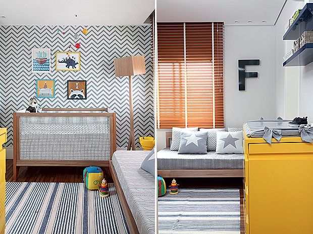 Papel de parede | Comprado na Ameise Design, o papel de parede com estampa de zigue-zague foi o ponto de partida para a decoração do quarto de bebê. Da mesma loja são o berço, o móbile e a luminária de chão. Brinquedos, da Tok & Stok Enxoval | Na cama de solteiro, manta e almofadas, da Ameise Design. Tapete, da By Kamy. Letra F, da Letramix (Foto: Evelyn Müller/Casa e Jardim)
