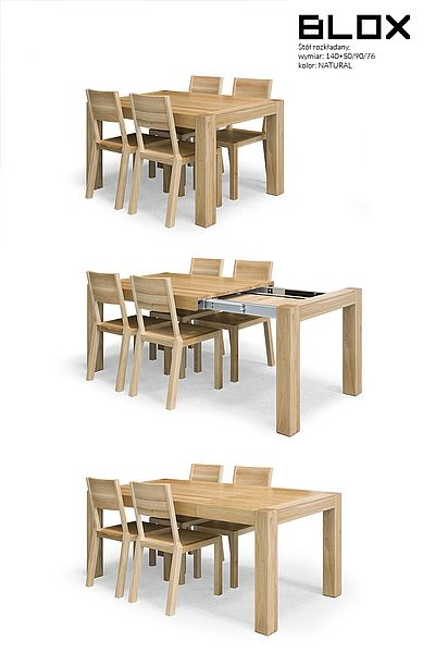 BLOX folding table with the frontslide system. Size: 140+50/90/76. Colour: Natural. - www.miloni.pl/en MILONI: wooden table, oak table, natural wood table, table design, furniture design, modern table