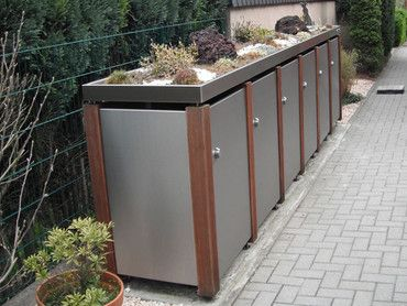6er Mülltonnenbox Edelstahl & Bangkirai