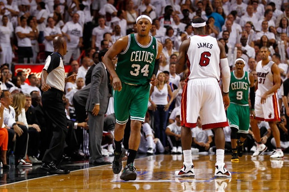 Paul Pierce of the Boston Celtics reacts after he made a 3-point basket in the final minute of the fourt quarter to give the Celtics a 90-86 lead against LeBron James #6 of the Miami Heat in Game Five of the Eastern Conference Finals in the 2012 NBA Playoffs on June 5, 2012 at American Airlines Arena