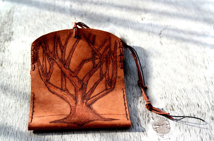 Handmade leather tobacco bag with tree pyrography by ZackLeatherCrafts on Etsy