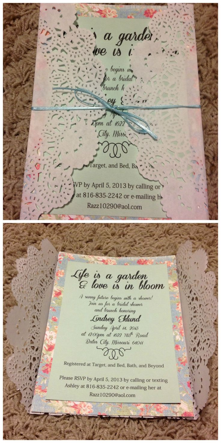 Bridal shower invitation. Vintage garden party theme. Paper doily. Handmade invitation.