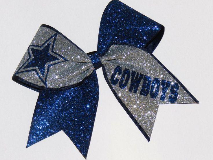 Dallas Cowboys Glitter Cheer Bow Cheerleader Hairbow Sparkle | eBay