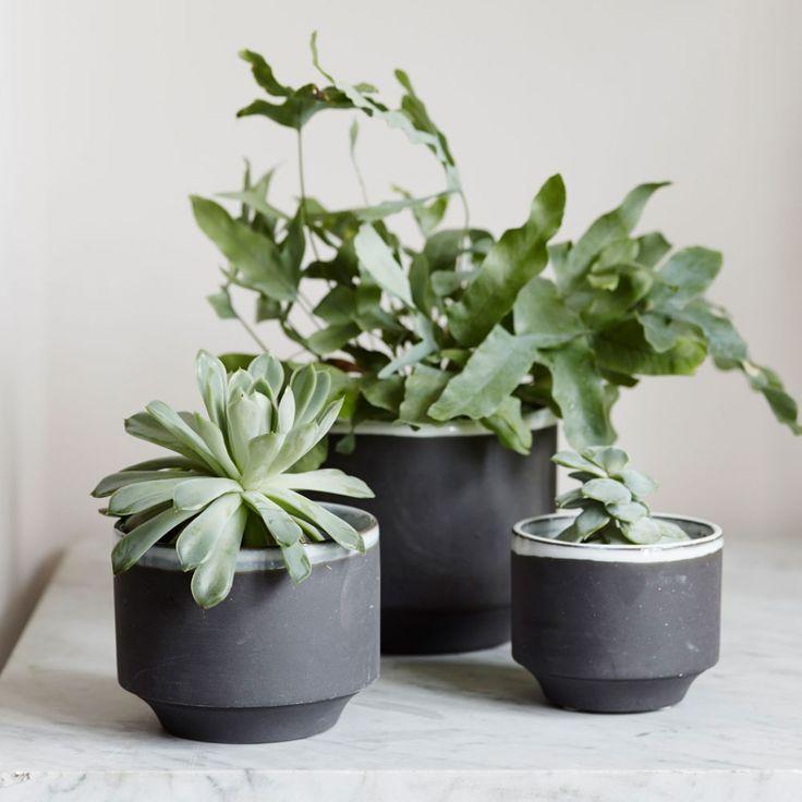 Small Dark Grey Plant Pots - Set of 3