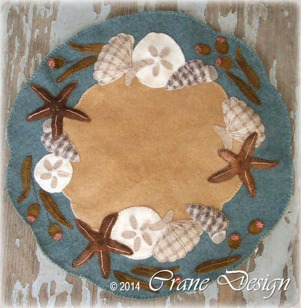"""Crane Design by Jan Mott Wool Applique Penny Rug & Punchneedle Patterns: New Seashell Wool Applique Pattern Release """" Ocean Breeze"""" with Trapunto Accents"""