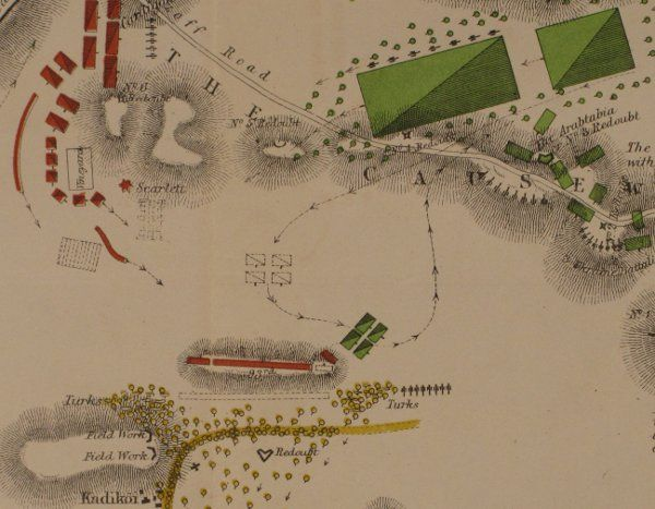 Map showing Battle of Balaclava showing the Russian cavalry advance towards the 'thin red line.' Taken from Kinglake, Alexander William, The invasion of the Crimea: its origin, and an account of its progress down to the death of Lord Raglan, Vol. IV, William Blackwood: Edinburgh, 1868 (RA.24.42)