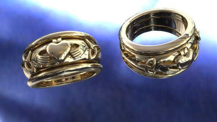 A rendering of specially designed custom yellow gold bands.  www.winnipegcustomjeweler.com