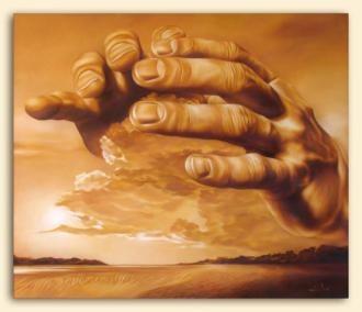 Christian Art by Lené Pienaar.  On The Second Day (Original Oil Painting)