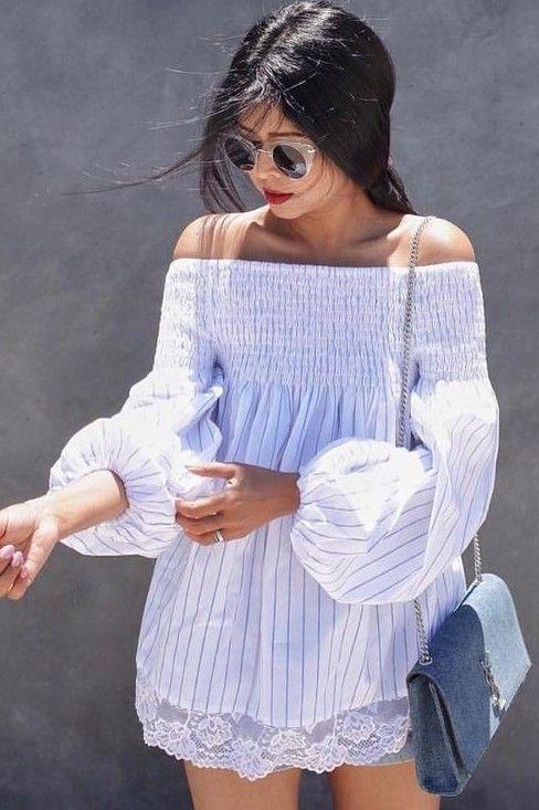 #summer #boho #chic #style | Stripe Off The Shoulder Dress