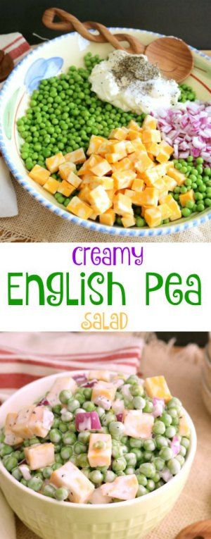 This simple and easy to follow recipe for Creamy English Pea Salad is really a great side dish for any time of the year. This side dish is especially good with grilled steak or chicken.