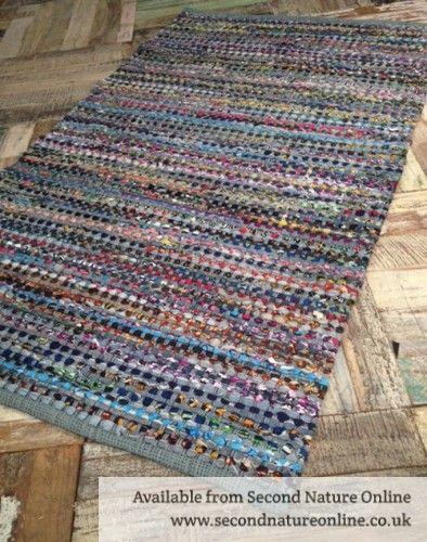 Denim Cotton Multi Coloured Rag Rug 90 Cm X 150