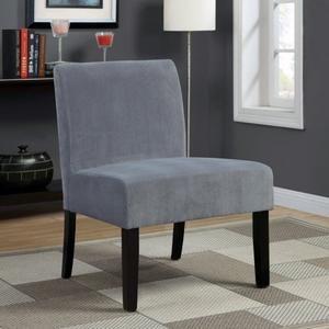 Monarch Specialties Swirl Velvet Accent Chair, Grey