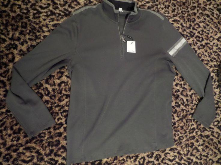 Calvin Klein Mens Iron Ore 40HK289 Refined GRAY ZIP NECK Sweatshirt Mens XL $89 #CalvinKlein #12Zip
