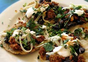 Small tacos with Orca beans and Chorizo
