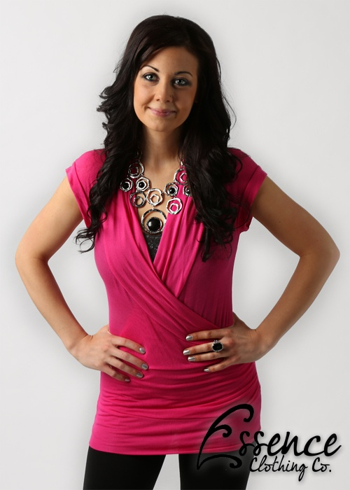 Fushia V-Neck Top - $26    (Accompanied by our Silver Dotted Necklace & Earring Set - 20.00, Black Stone Ring - 8.00 & Black tights - 10.00)