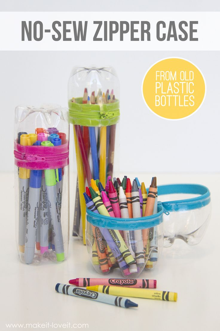 No-Sew Zipper Cases...from old SODA (or water) BOTTLES! |via Make It and Love It #MichaelsMakers #MadeWithMichaels