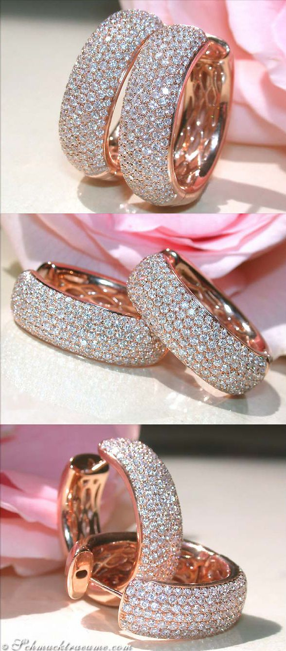 Beautiful Diamond Huggies, 1,40 cts. g-vvsi RG18K - Visit: schmucktraeume.com - Like: https://www.facebook.com/pages/Noble-Juwelen/150871984924926 - Mail: info@schmucktraeume.com