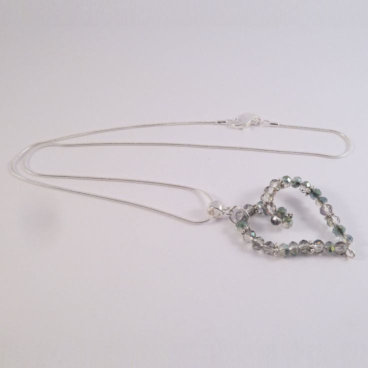 Swarovski element heart pendant with clear beads
