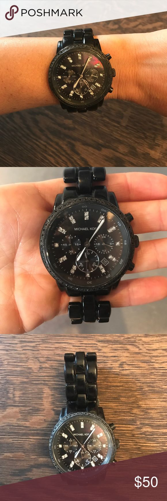 Black Michael Kors Watch This watch is in great condition! has a brand new battery too. KORS Michael Kors Accessories Watches