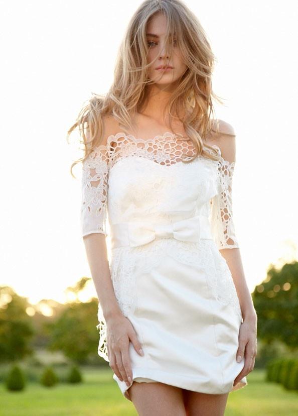 Wedding Dresses Ivory Silk Satin Strapless Sleeveless Knee-length Short Wedding Dresses (S D 00042)