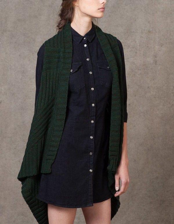 catalogo-stradivarius-2016-ropa-vestido-denim-botones-oscuro