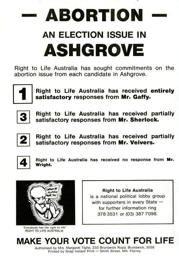 Right To Life Australia, 1986 | Political Ephemera : Special collections of the Fryer Library, University of Queensland.