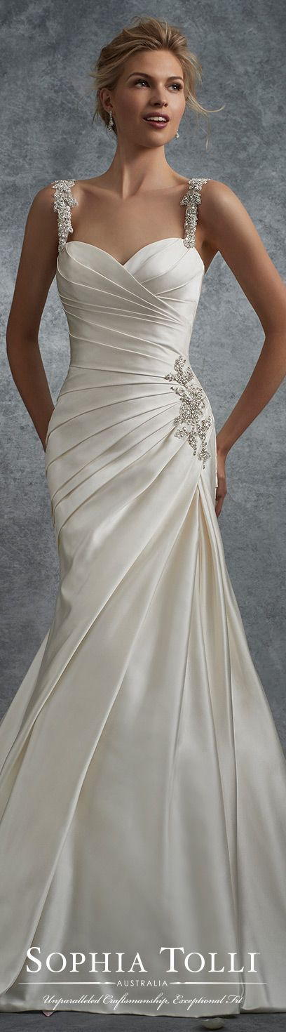 Sophia Tolli Fall 2017 Wedding Gown Collection - Style No. Y21738 Aludra - sleeveless satin fit and flare wedding dress with crystal encrusted straps
